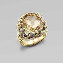 David Yurman Diamond Accented Champagne Citrine 18K Gold Ring: $5,700