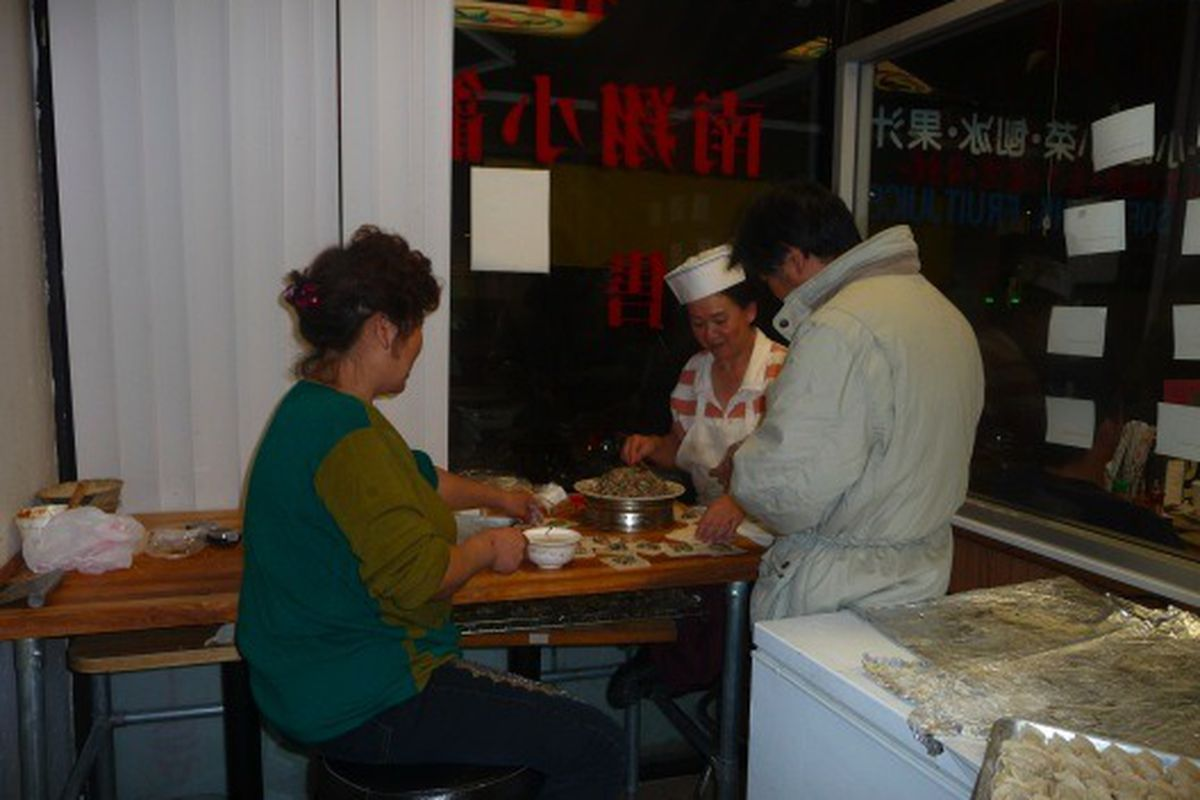 Fresh dumplings made on the minute, every minute, at Dean Sin World.