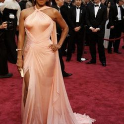 """""""<strong>Jada Pinkett Smith</strong>. Another great <strong>Versace</strong> dress this evening. This custom <strong>Versace</strong> piece was just draped beautifully, the structure on her body fit exquisitely. The back fabric subtly draped over her shou"""