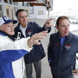 Mitt Romney, center, talks with Spence Eccles, left, and Fraser Bullock, right, at the Utah Olympic Park in Park City on Friday, Feb. 3, 2017. Romney was attending a staff celebration of the 15-year anniversary of the 2002 Olympics.