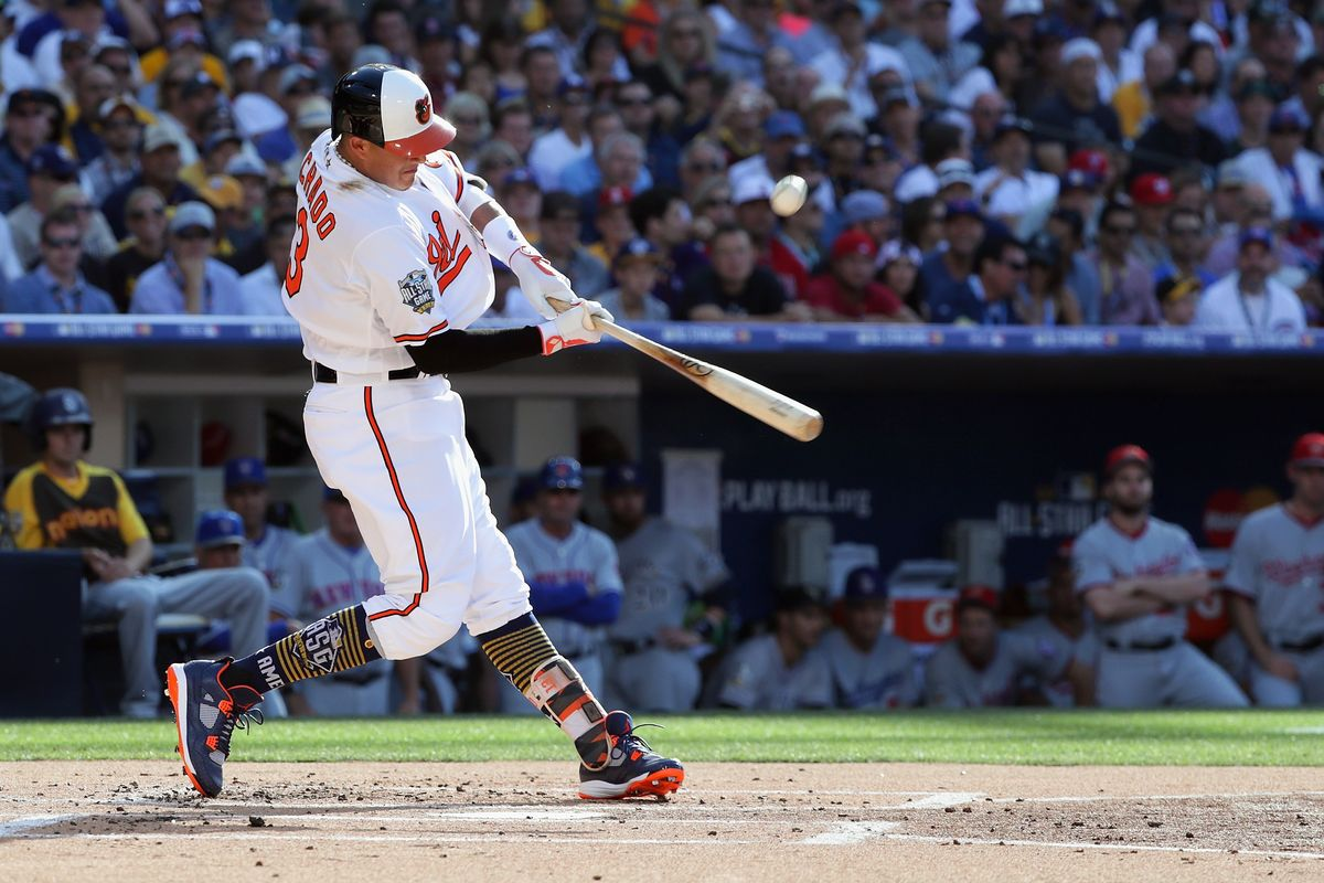Manny Machado bats during the 87th MLB All-Star Game at PETCO Park on July 12, 2016 in San Diego.