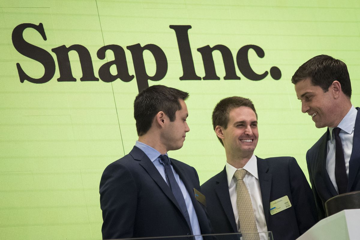 Snapchat co-founders Bobby Murphy, chief technology officer of Snap Inc., and Evan Spiegel, chief executive officer of Snap Inc.