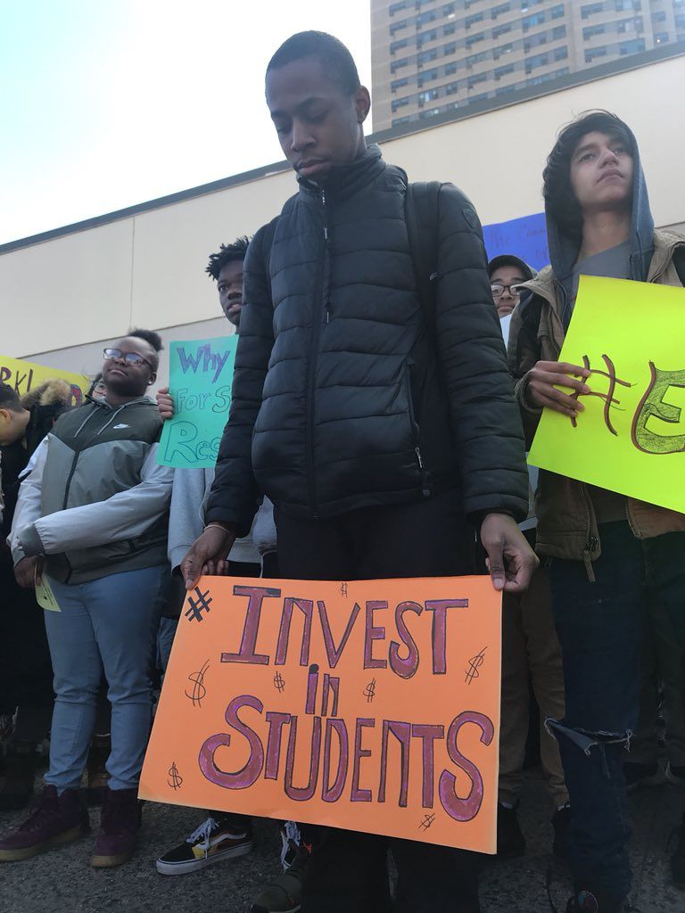 Students at the Grace Dodge campus in the Bronx walked out Wednesday morning.