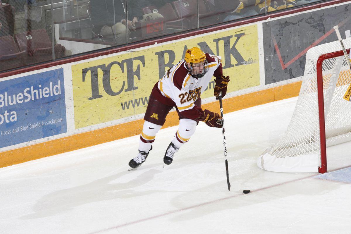 Senior Travis Boyd (22) scored twice Friday in Minnesota's 5-2 win