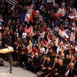 Socialist Party candidate for the presidential election Francois Hollande delivers his speech during a campaign rally  in Lorient, western France, Monday, April 23, 2012. Official partial results show socialist Francois Hollande and conservative President Nicolas Sarkozy are advancing to the runoff of France's presidential elections.