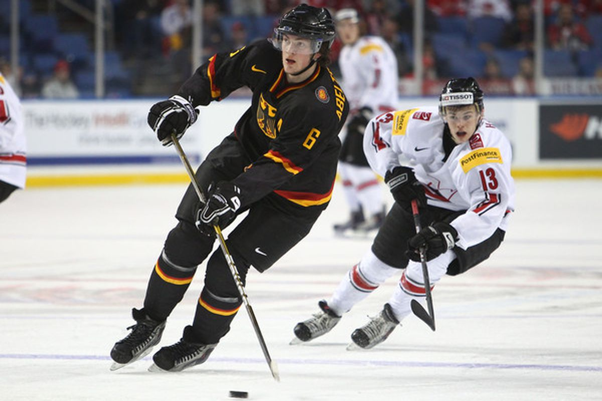 Konrad Abeltshauser led Germany back to the elite group of the World Junior Hockey Championship for 2013 with a dominating performance at the Division 1A tournament in Bavaria last week.  (Photo by Tom Szczerbowski/Getty Images)