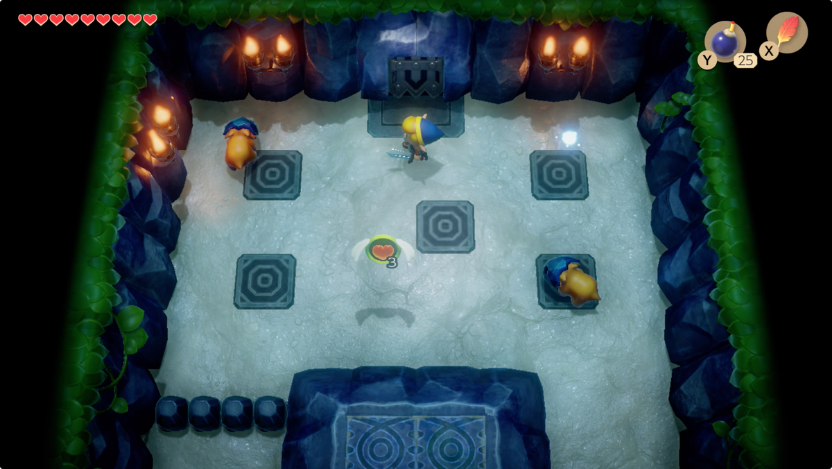Link's Awakening Angler's TunnelIron Masks and a puzzle — follow the blue orb to solve it