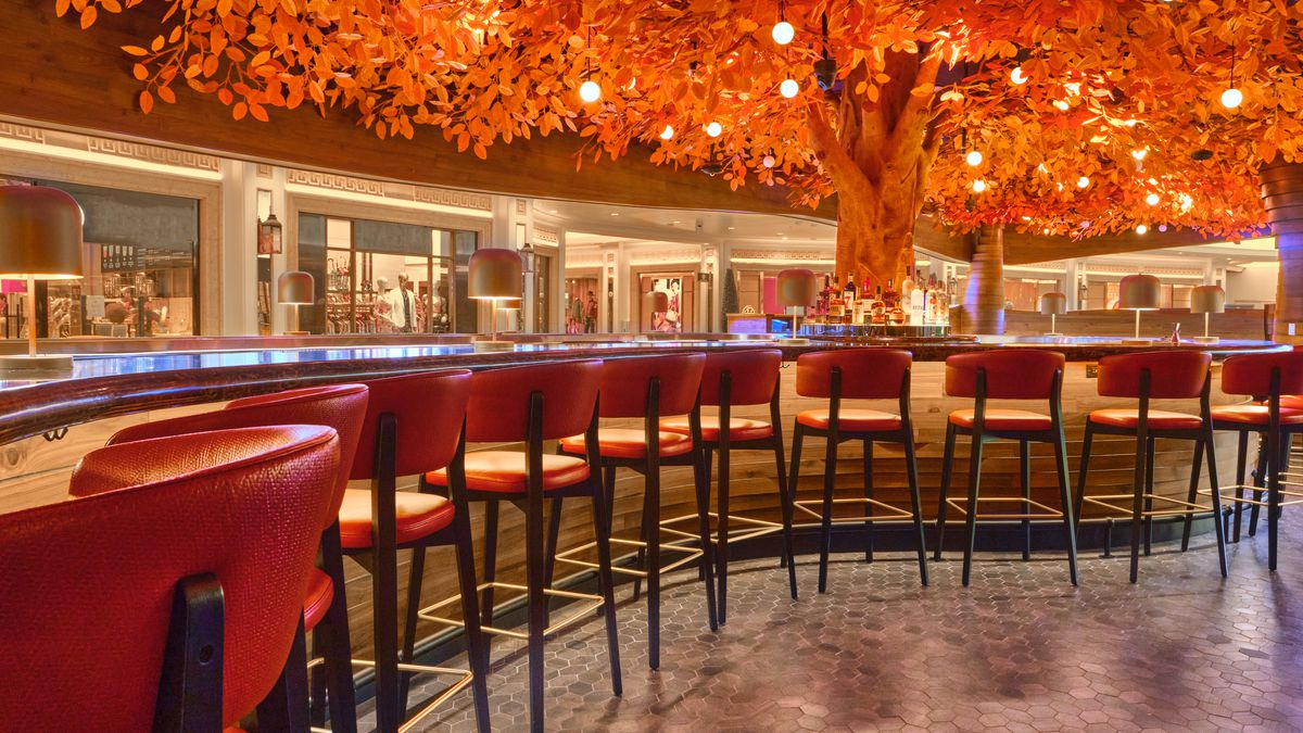 A curved bar with a canopy of orange leaves overhead