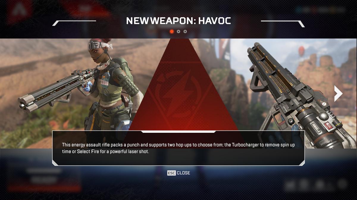 Apex Legends - splash screen introducing new weapon Havoc