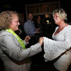 Salt Lake mayoral candidate Jackie Biskupski greets Kimi Eklund during her election night party in Sugar House on Tuesday, Nov. 3, 2015.