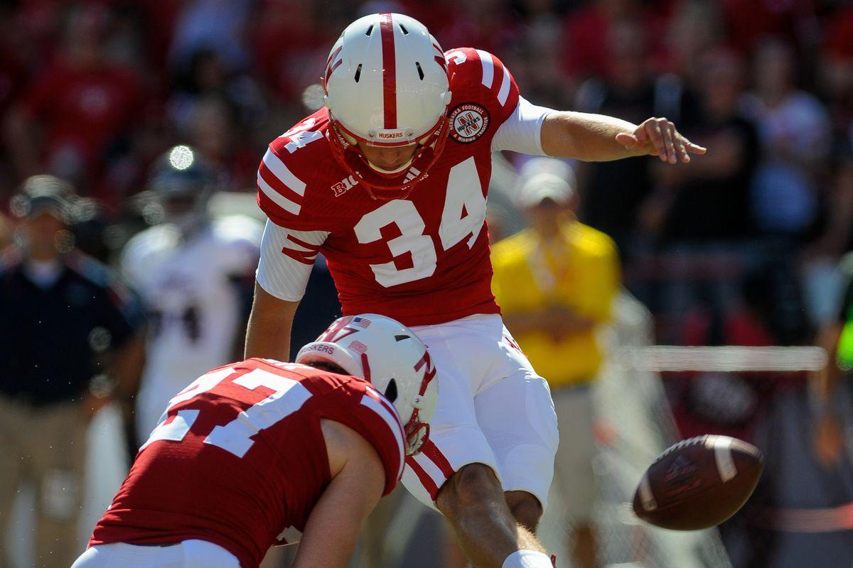 Nebraska's Drew Brown kicks a field goal