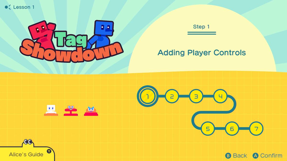The Tag Showdown tutorial menu in Game Builder Garage