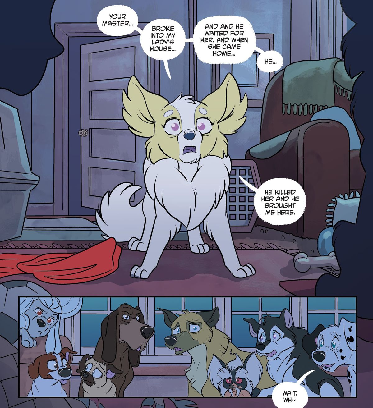 """""""Your master,"""" says a small fluffy dog, """"Broke into my lady's house... and and he waited for her. And when she came home ... he... he killed her and he brought me here."""" A group of other dogs regard her with worry, confusion, and suspicion, in Stray Dogs #1, Image Comics (2021)."""
