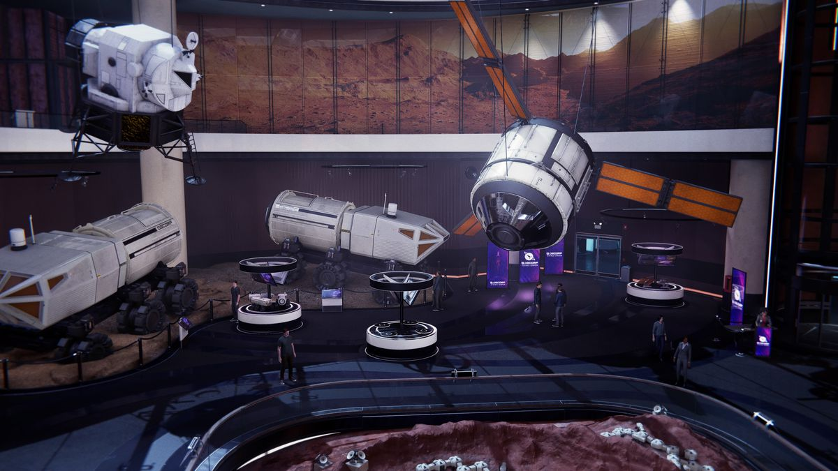An overhead shot of the space/Mars landing exhibit at the Oscorp Science Center in Spider-Man: Miles Morales, with different space vehicles floating above a floor exhibit