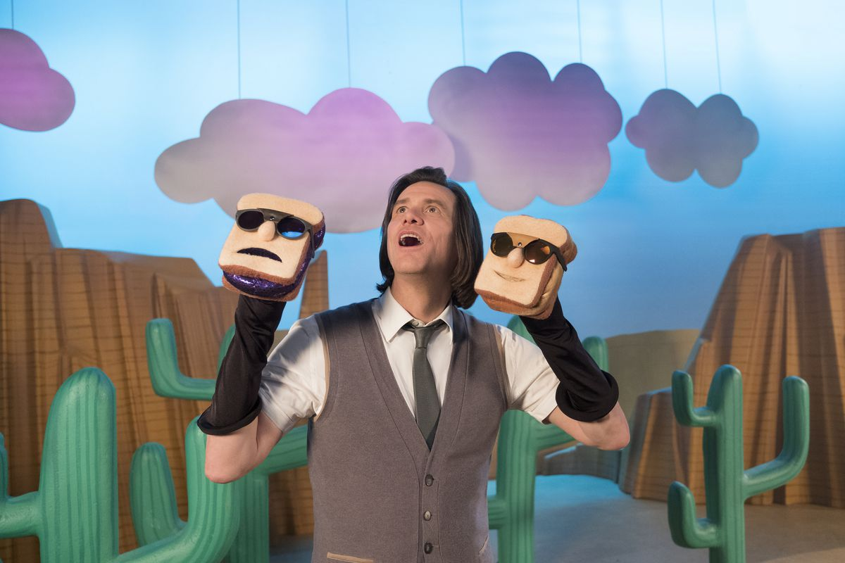 Kidding - Mr. Pickles holding up peanut butter and jelly sandwich puppets
