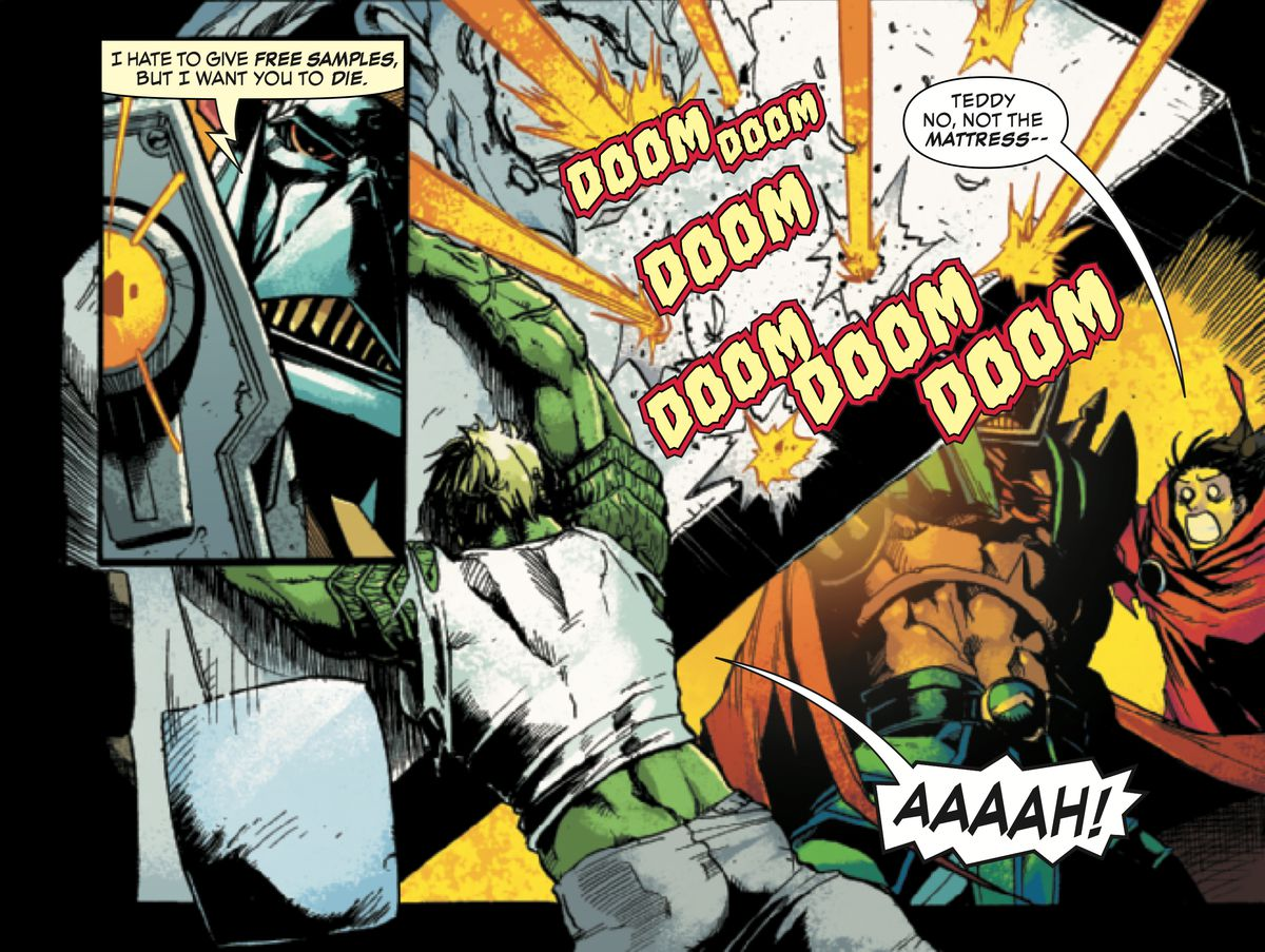 Death's Head, the bounty hunter, fires several rounds into a mattress that Hulkling has raised as a shield, much to his boyfriend, Wiccan's, chagrin, in Death's head #1, Marvel Comics (2019).