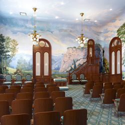 An artistic rendering of the renovated World Room in the Salt Lake Temple.