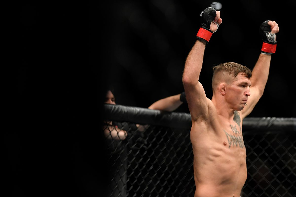 Darren Elkins prepares to fight Ryan Hall in their featherweight bout during the UFC Fight Night event at Golden 1 Center on July 13, 2019 in Sacramento, California.