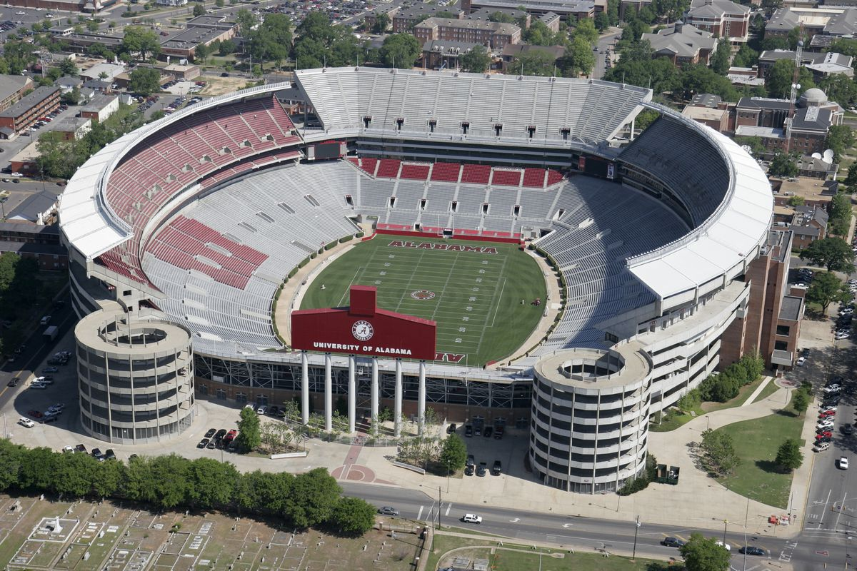 An aerial view of Bryant-Denny Football Stadium.