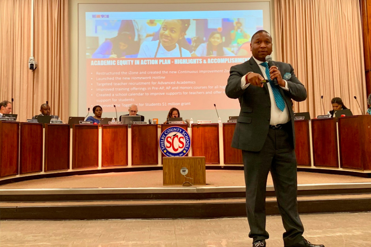Superintendent Joris Ray presents an update on his initiatives during a May 2019 school board meeting.