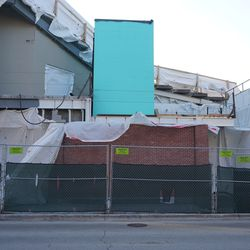 Possible new elevator shaft in the right field corner, between the grandstands and the bleachers