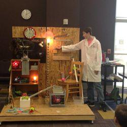 Jonathan Barfuss of NUAMES prepares to start his team's Rube Goldberg machine.