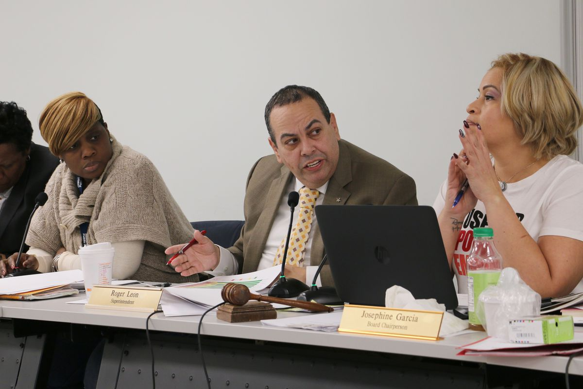 Superintendent Roger León said at a school board meeting this month that the district had begun posting the results of school lead tests online as required by state rules.