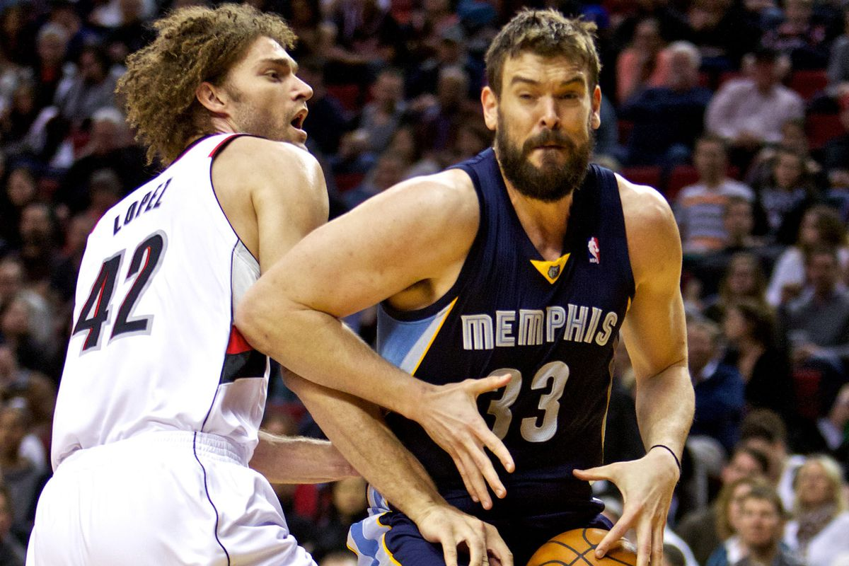 Marc Gasol leads Memphis into Portland to take on Robin Lopez and the Trail Blazers.