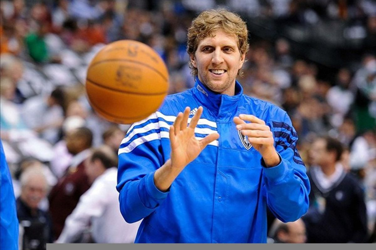 Feb 20, 2012; Dallas, TX, USA;Dallas Mavericks power forward Dirk Nowitzki (41) warms up before the game against the Boston Celtics at the American Airlines Center. The Mavericks defeated the Celtics 89-73. Mandatory Credit: Jerome Miron-US PRESSWIRE