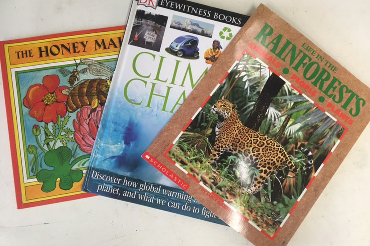 Books from Liat Olenick's science classroom.