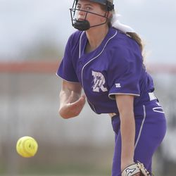 Riverton's Kaysen Korth pitches against Murray in a high school girls softball game at Riverview Junior High in Murray on Wednesday, April 7, 2021.