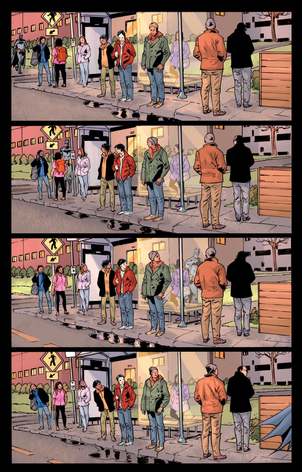 Batman down a street in the early morning, past a crowd of half a dozen puzzled people waiting at a bus stop, in The Batman's Grave #7, DC Comics (2020).