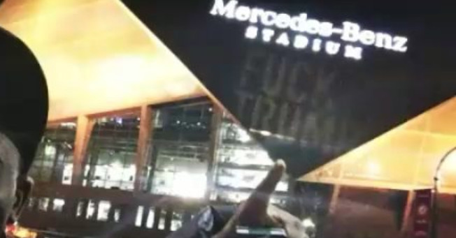 Somebody projected ?F*** TRUMP? onto Mercedes-Benz Stadium during Bama-UGA