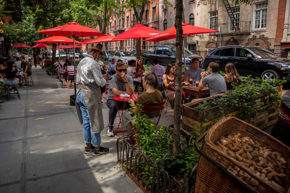 People enjoy outdoor dining at Buvette in the West Village, Aug. 28, 2020.