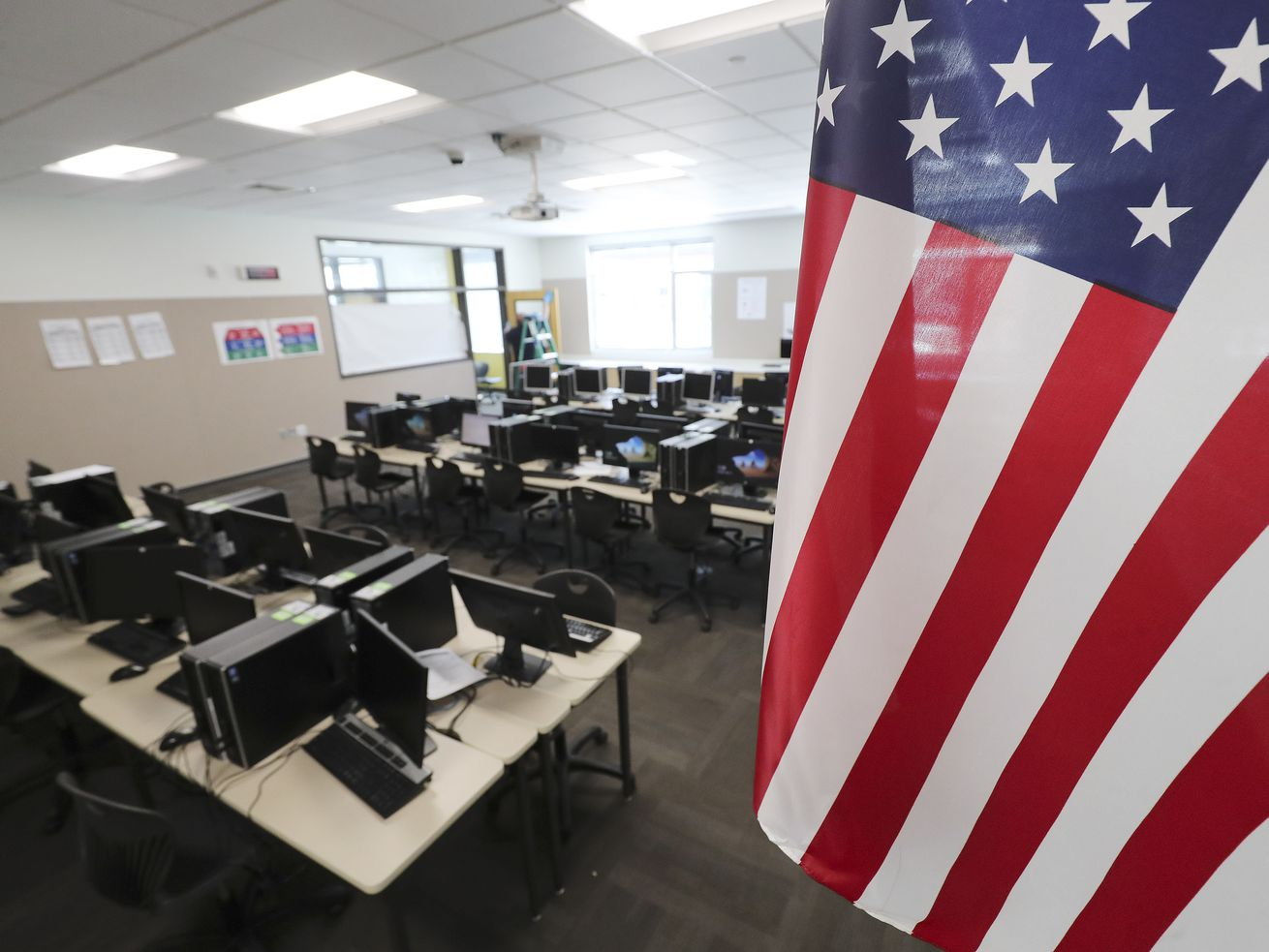 An empty classroom at Mount Jordan Middle School in Sandy is pictured on Tuesday, April 14, 2020. Utah's K-12 public schools will remain closed for in-person learning for the remainder of the academic year, state officials announced Tuesday.