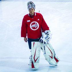Ilya Samsonov skates toward the net at Capitals morning skate.
