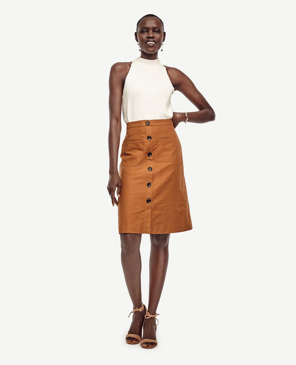 Ann Taylor linen button skirt
