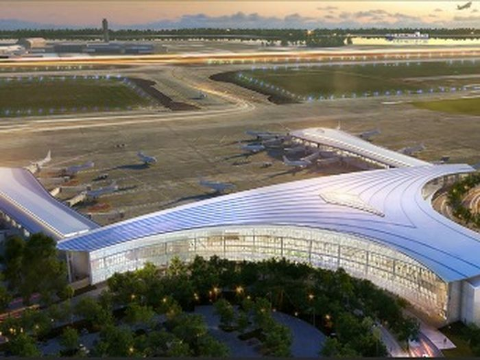 An aerial view of the Louis Armstrong New Orleans International Airport.