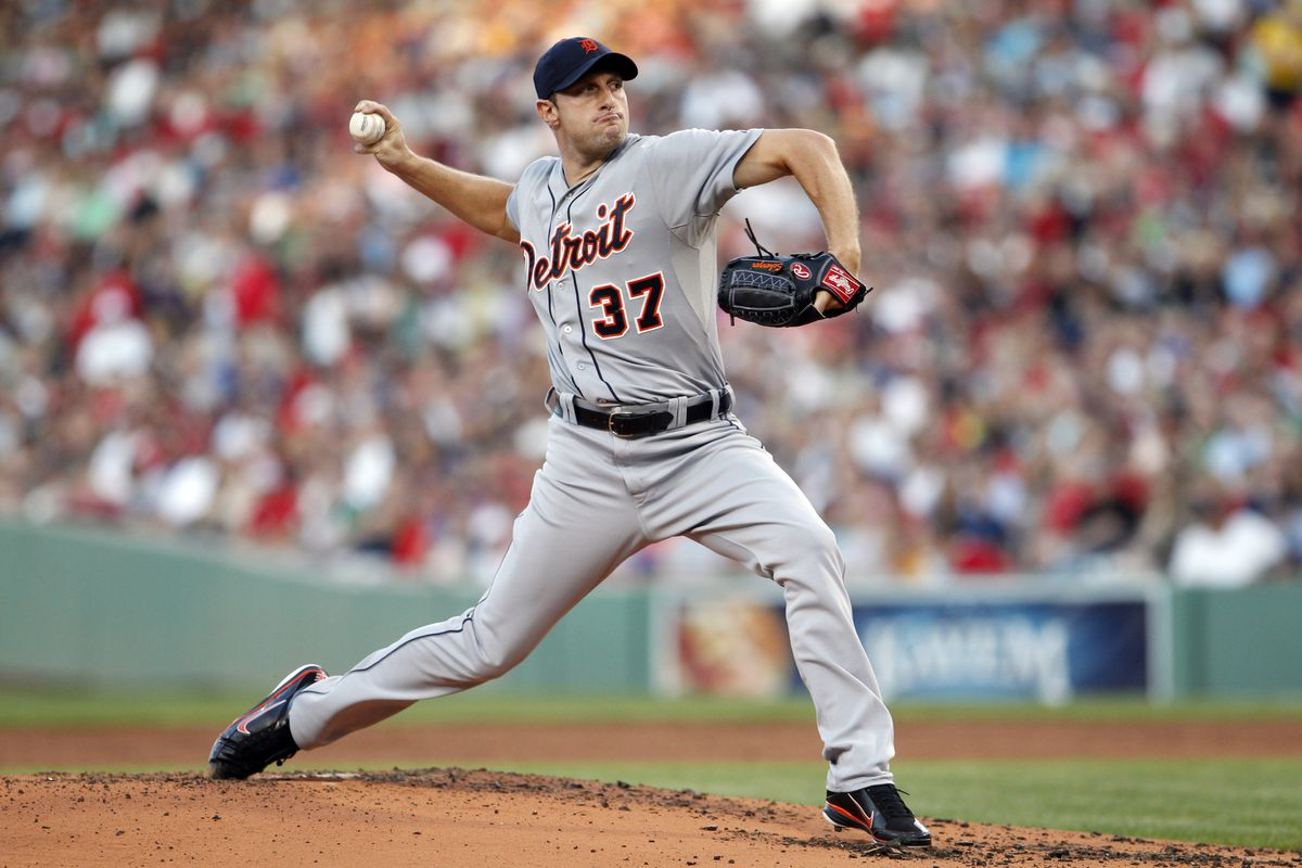 July 30, 2012; Boston, MA, USA; Detroit Tigers starting pitcher Max Scherzer (37) throws a pitch against the Boston Red Sox during the first inning at Fenway Park. Mandatory Credit: David Butler II-US PRESSWIRE