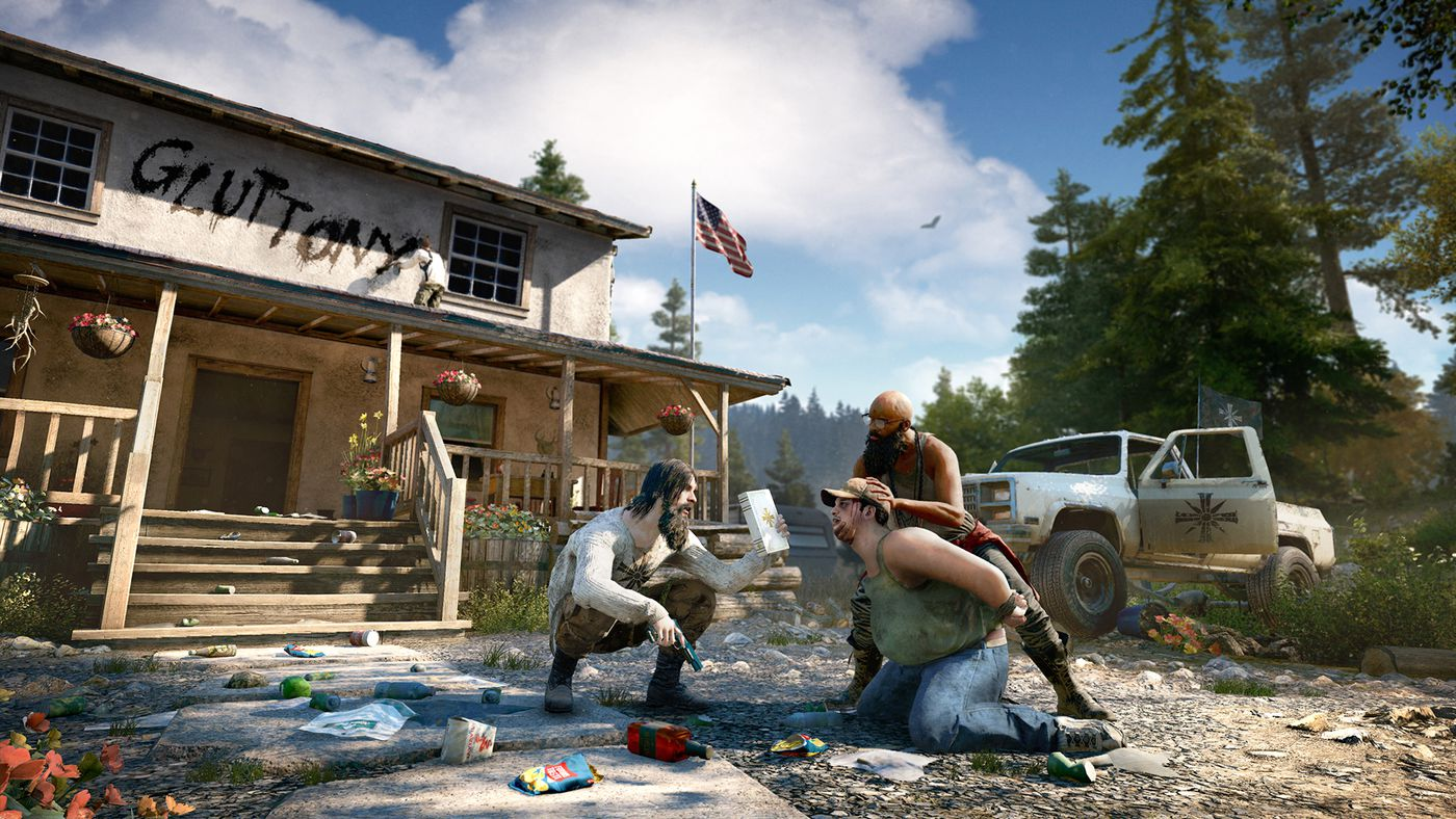 Far Cry 5 - Project at Eden's Gate followers beat up a fat guy and spray-paint 'gluttony' on his house