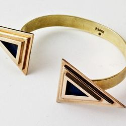 Double Pyramid cuff in bronze and lapis.