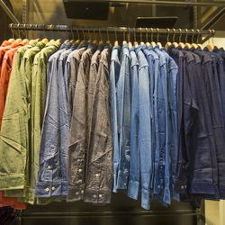 Organic cotton chambray shirts in every color of the rainbow.