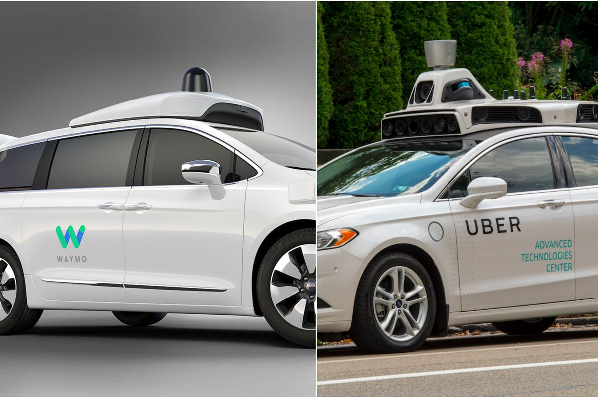 Two self-driving cars, one from Way and one from Uber
