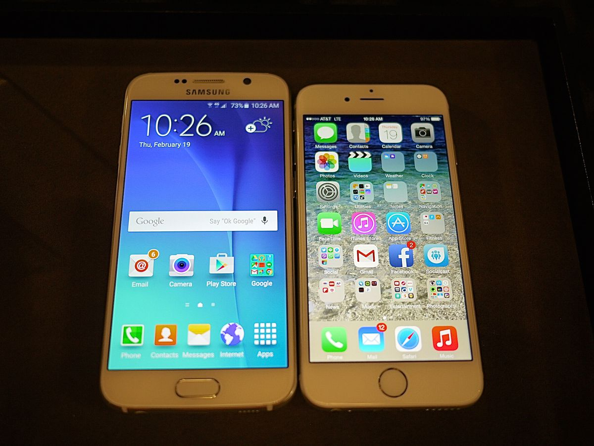 The Samsung Galaxy S6 and iPhone 6. Notice any similarities?