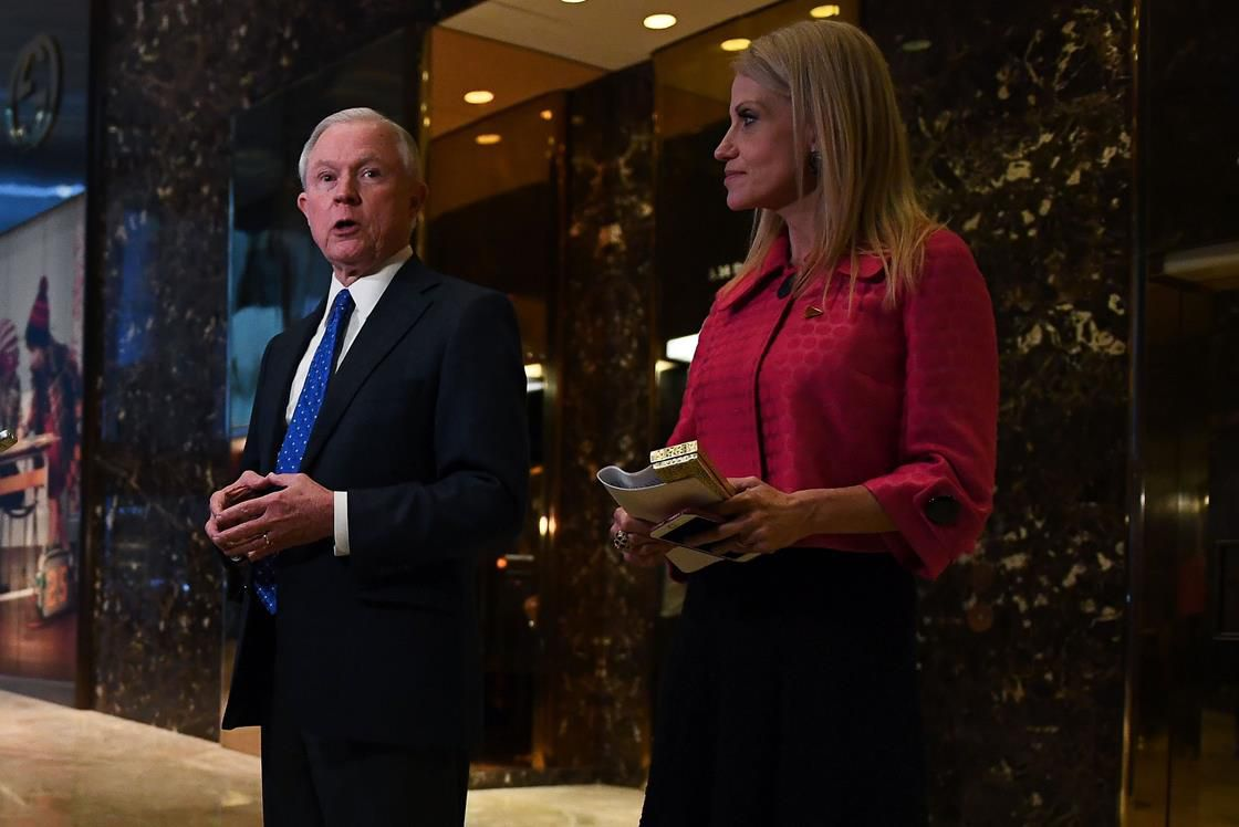 Jeff Sessions and Kellyanne Conway