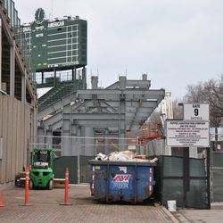 A view north on Sheffield at the expanded right field bleachers -