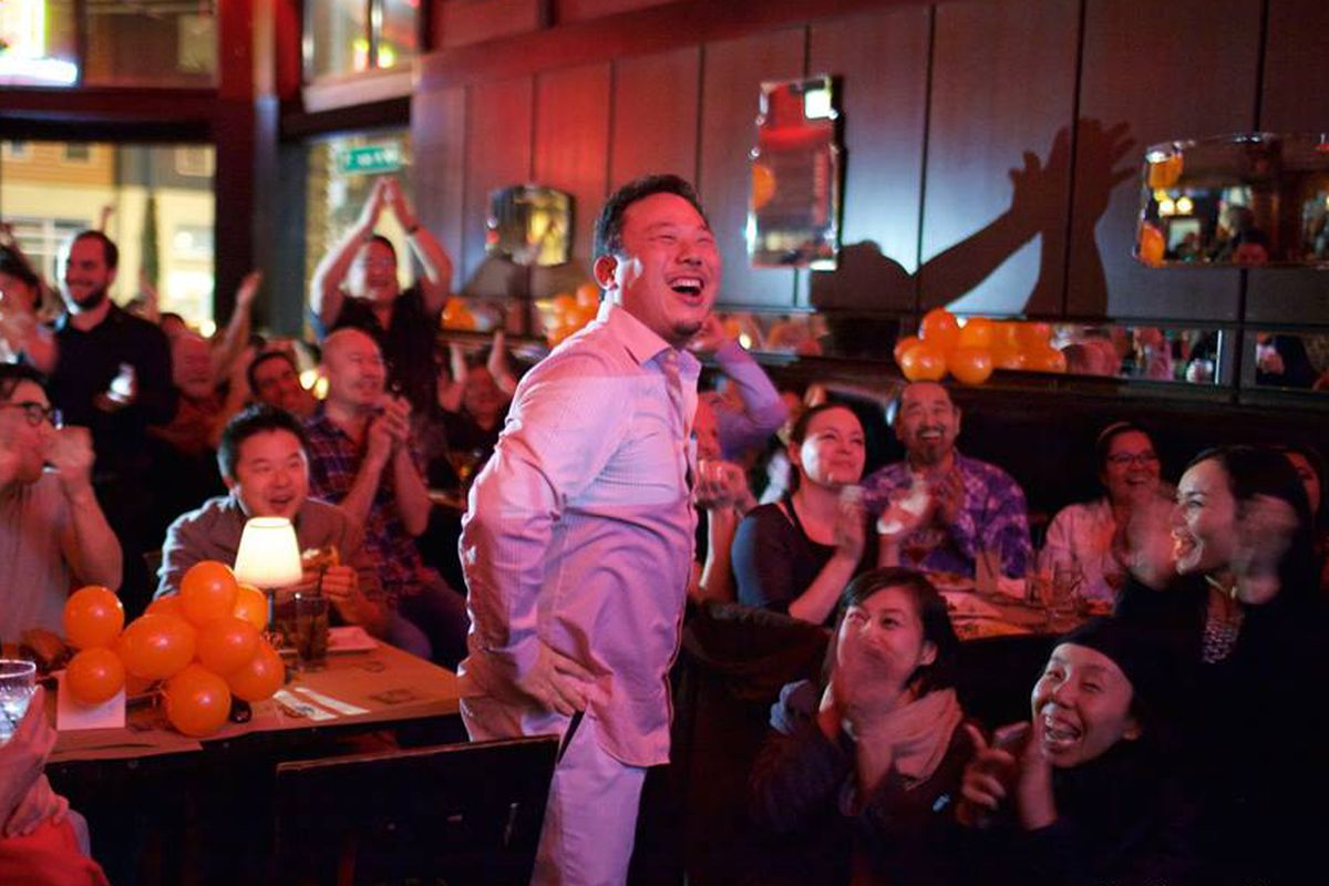 """Taichi Kitamura celebrates at a viewing party for his episode of """"Beat Bobby Flay."""""""