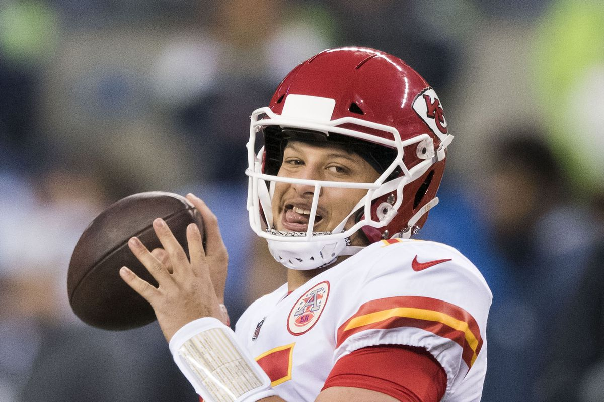Kansas City Chiefs quarterback Patrick Mahomes during warmups prior to the game against the Seattle Seahawks at CenturyLink Field.