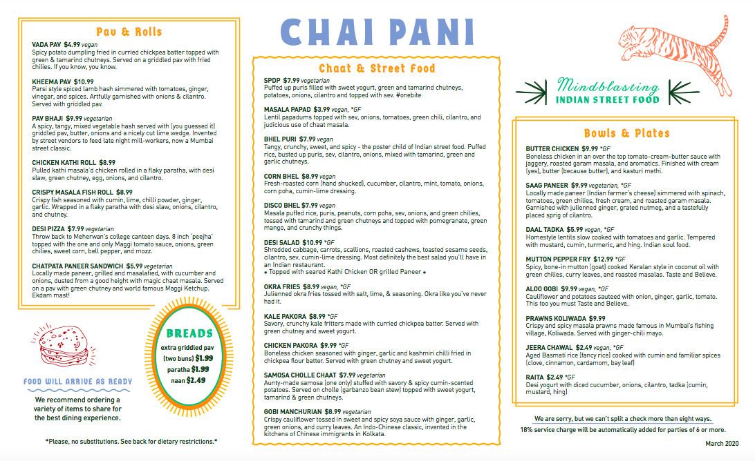 Dinner menu at Chai Pani in Decatur