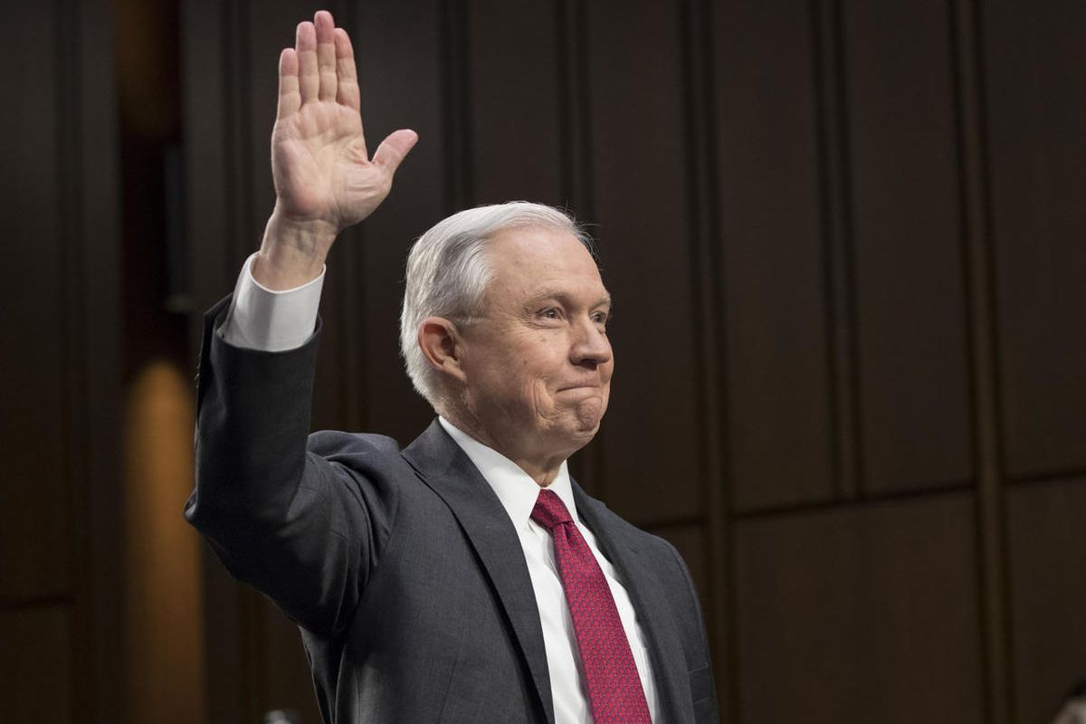 Attorney General Jeff Sessions is sworn-in on Capitol Hill in Washington, Tuesday, June 13, 2017, prior to testifying before the Senate Intelligence Committee hearing about his role in the firing of James Comey, his Russian contacts during the campaign an